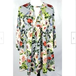 Umgee USA Dress S Floral Trumpet Bell Sleeves